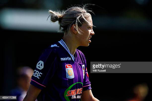 Bronwyn Studman of the Glory looks on during the round one WLeague match between the Perth Glory and the Brisbane Roar at Ashfield Sports Club on...