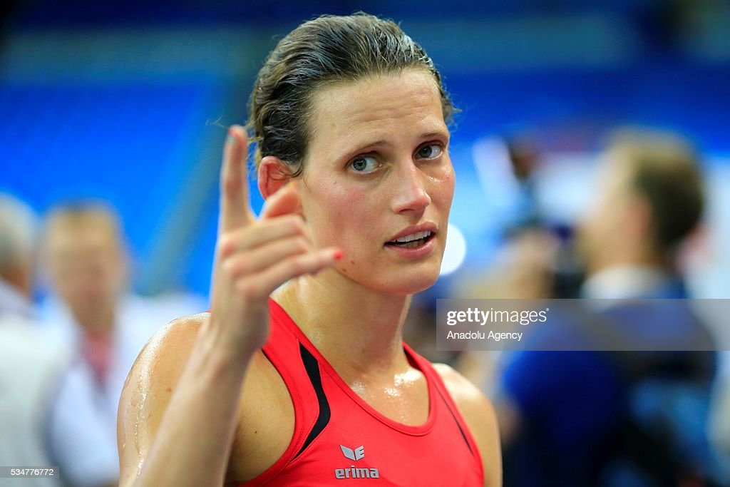 Bronz medalist Lena Schoneborn of Germany is upset following the women's final of the World Modern Pentathlon Championships in Moscow, Russia, on May 27, 2016.