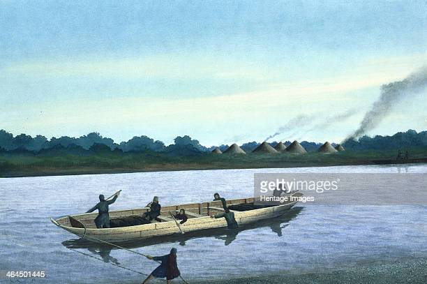 Bronze Age boat on the River Thames This artist's impression shows a Bronze Age boat transferring cargo and passengers from one side of the river to...