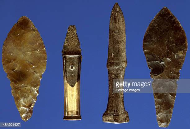 Bronze Age daggers The central copper dagger with a reconstructed handle has been copied in bone and flint All were dredged from different stretches...