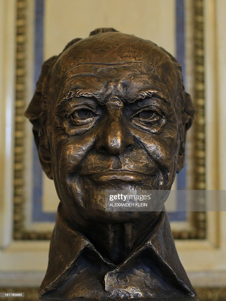 A bronze bust made by Austrian sculptor Helmut Millonig featuring US conductor Lorin Maazel is seen after being unveiled his at the Vienna State Opera (Staatsoper) in Vienna on September 25, 2013. Maazel used to be the first American to become General Manager, Artistic Director and Principal Conductor of the Vienna State Opera between 1982 and 1984. His close association with the Vienna Philharmonic includes 11 internationally televised New Years Concerts from Vienna.