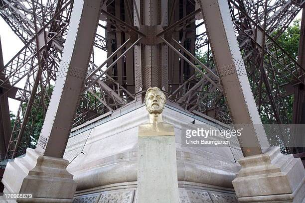 Bronze bust of Gustave Eiffel erector of the Eiffel Tower at the Eiffel Tower in the French capital Paris on August 07 2013 in Paris France