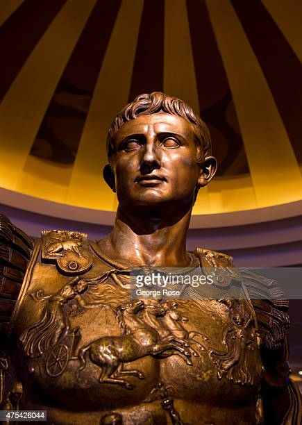 A bronze bust of Julius Caesar is displayed in the lobby at Caesars Palace on May 19 2015 in Las Vegas Nevada Tourism in America's 'Sin City' has...