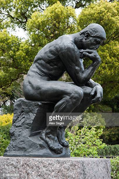 Bronze cast of The Thinker sculpture by Rodin outside the National Museum of Western Art Tokyo Japan