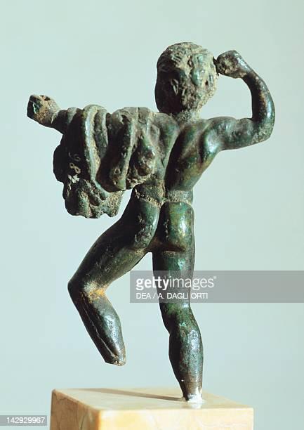 Bronze depicting Hercules in battle rear view Etruscan Civilization 425400 BC Verona Museo Archeologico Del Teatro Romano