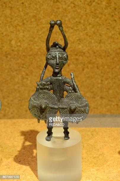 Bronze figure in National Archaeological Museum in Cagliari Sardinia Italy Europe