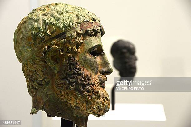 Bronze head ' Brasle ' is displayed in a renovated Reggio Calabria National Archeological Museum on January 9 together with the Riace bronzes...