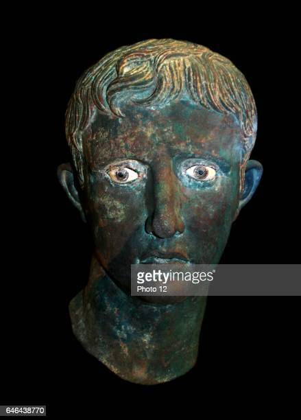 Bronze head from an over lifesized statue of Augustus Roman probably made in Egypt About 2725 BC found at Meroe Sudan Statues of the emperor together...