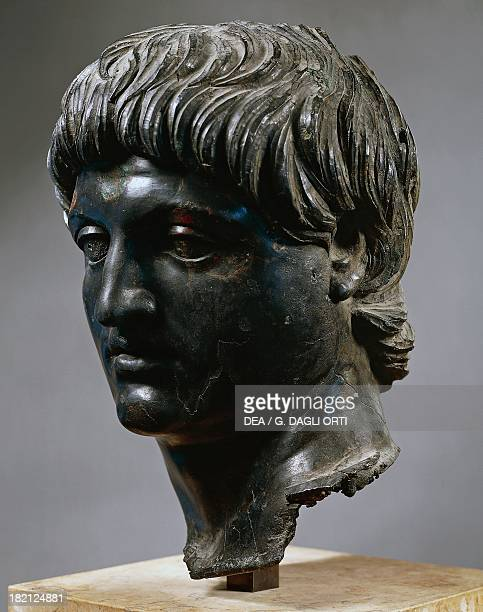 Bronze head of Emperor Nero artefact uncovered in Cilicia Turkey Roman Civilisation 1st century Paris Musée Du Louvre