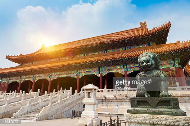 Bronze lion in forbiden city,china,