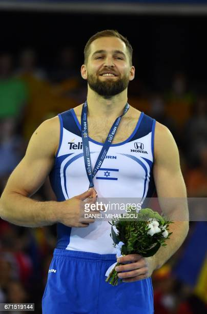 Bronze medal winner Alexander Shatilov of Israel during medal ceremony of men floor apparatus final for the European Artistic Gymnastics Championship...