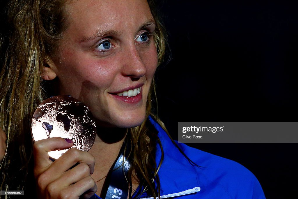 Bronze medal winner Francesca Halsall of Great Britain poses with her medal after the Swimming Women's Freestyle 50m Final on day sixteen of the 15th FINA World Championships at Palau Sant Jordi on August 4, 2013 in Barcelona, Spain.