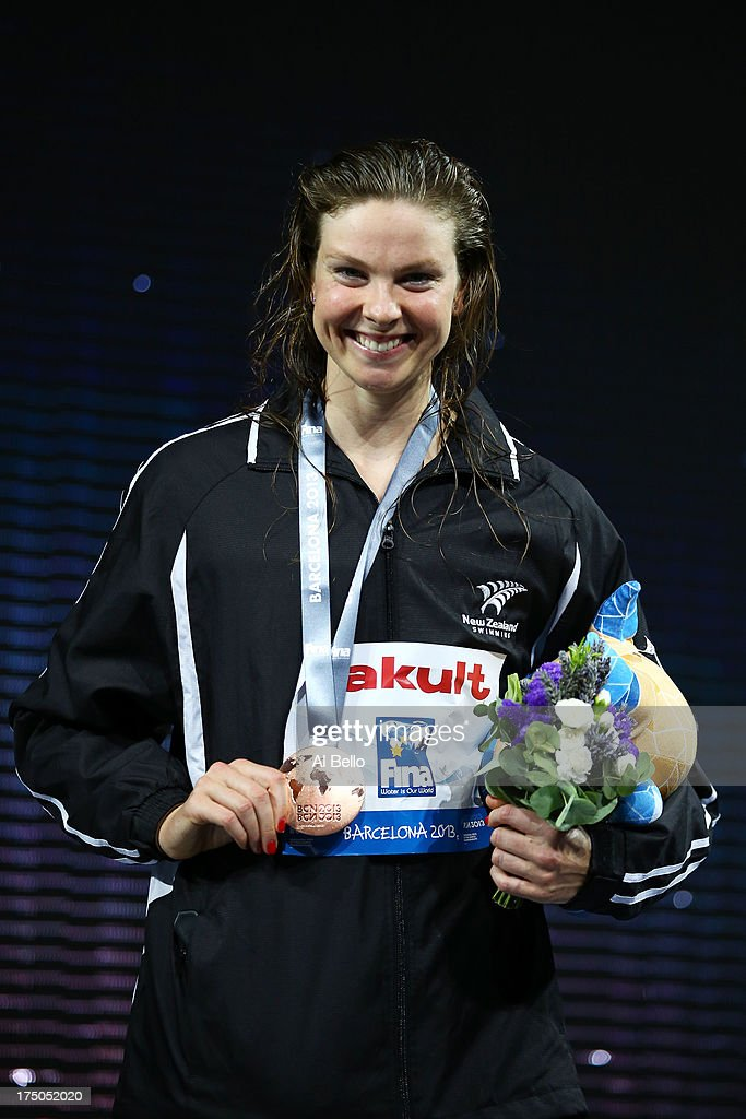 Bronze medal winner Lauren Boyle of New Zealand celebrateS on the podium after the Swimming Women's 1500m Freestyle Final on day eleven of the 15th FINA World Championships at Palau Sant Jordi on July 30, 2013 in Barcelona, Spain.