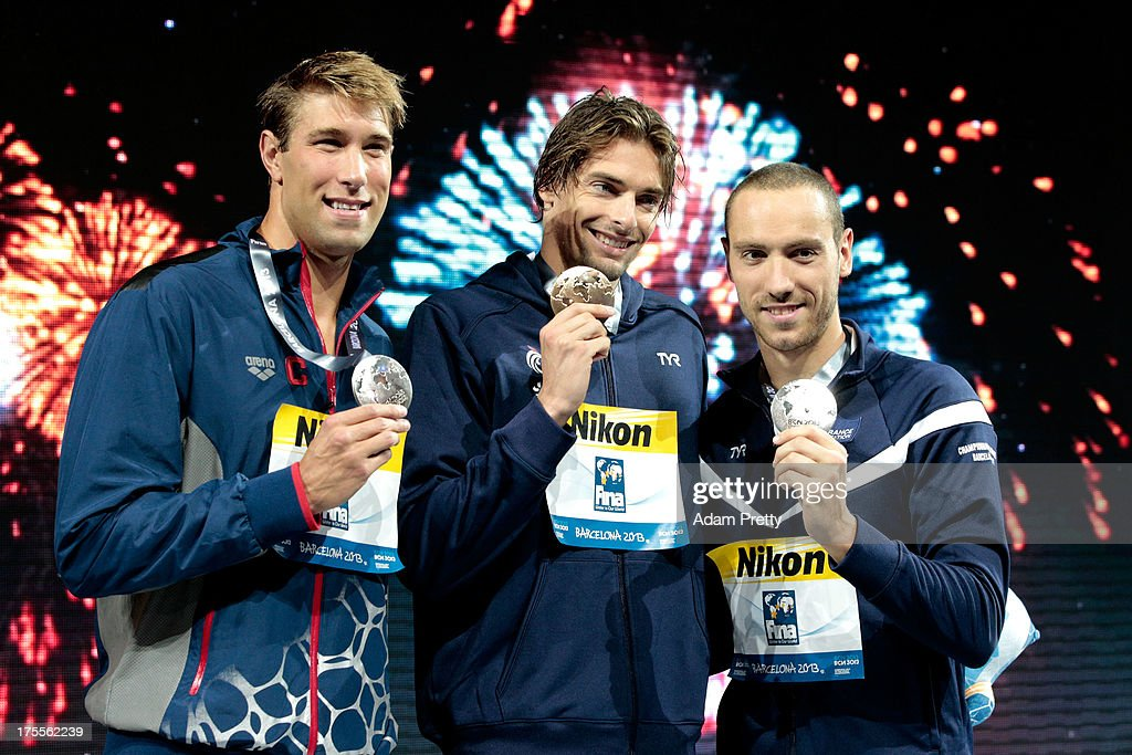 Bronze medal winner Matt Greevers of the USA , Gold medal winner <a gi-track='captionPersonalityLinkClicked' href=/galleries/search?phrase=Camille+Lacourt&family=editorial&specificpeople=4365269 ng-click='$event.stopPropagation()'>Camille Lacourt</a> of France and Silver medal winner Jeremy Stravius of France celebrate on the podium after the Swimming Men's Backstroke 50m Final on day sixteen of the 15th FINA World Championships at Palau Sant Jordi on August 4, 2013 in Barcelona, Spain.