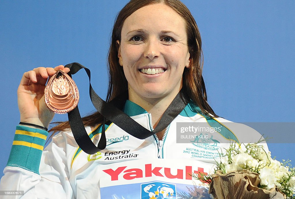 Bronze medal winner Sarah Karsoulis of Australia poses after the women`s 50m breaststroke on December 13, 2012 of the FINA World Short Course Swimming Championships in Istanbul.