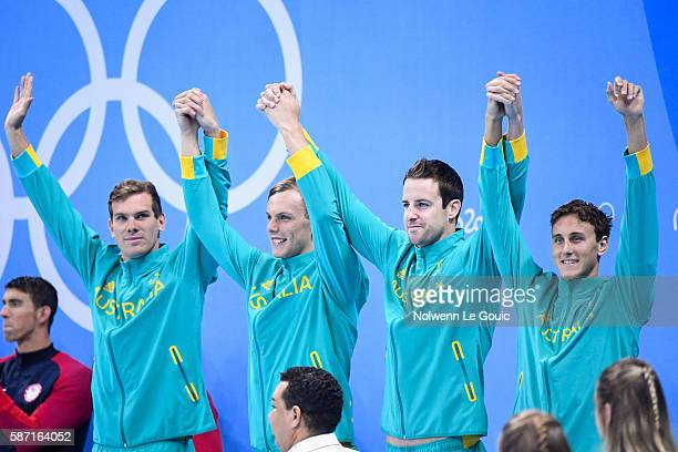 Bronze Medal Winners Australian's 4x100m Freestyle relay team which included Cameron McEvoy James Roberts Kyle Chalmers and James Magnussen during...