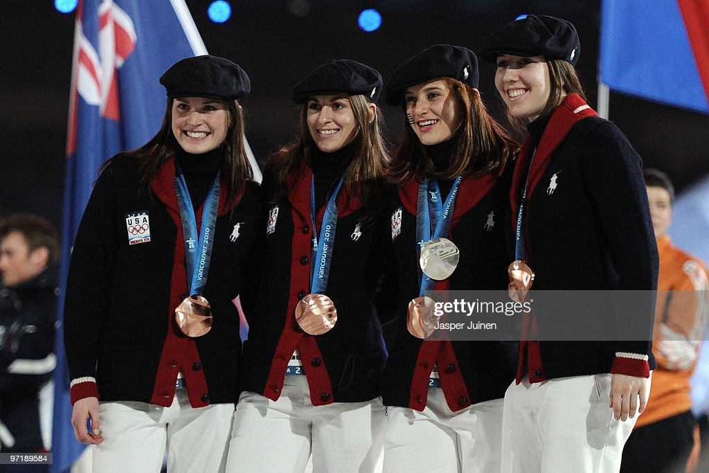 Bronze medal winners team USA in the 3000 m relay short track attend the Closing Ceremony of the Vancouver 2010 Winter Olympics at BC Place on February 28, 2010 in Vancouver, Canada.