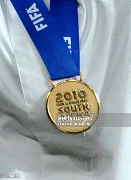 A bronze medal won by Germany is pictured after the 2010 World Cup third place match Uruguay vs Germany on July 10 2010 at the Nelson Mandela Bay...