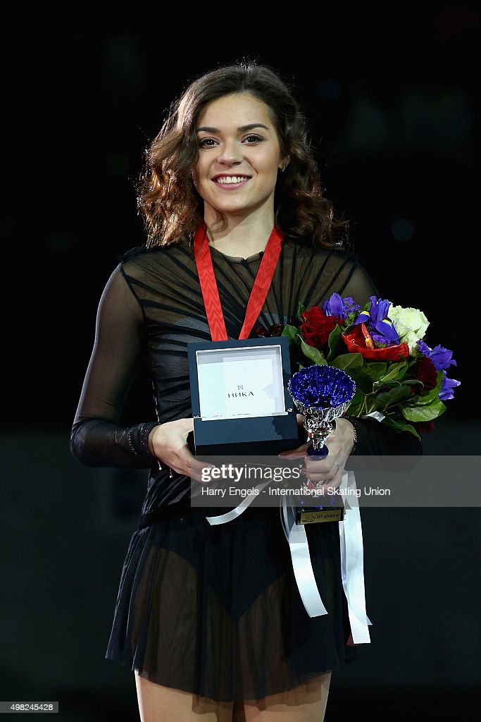 Bronze medalist <a gi-track='captionPersonalityLinkClicked' href=/galleries/search?phrase=Adelina+Sotnikova&family=editorial&specificpeople=7380612 ng-click='$event.stopPropagation()'>Adelina Sotnikova</a> of Russia poses with her medal on day three of the Rostelecom Cup ISU Grand Prix of Figure Skating 2015 at the Luzhniki Palace of Sports on November 22, 2015 in Moscow, Russia.