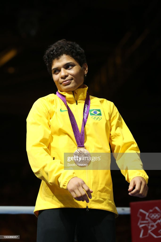Bronze medalist Adriana Araujo of Brazil celebrates during the medal ceremony for the Women's Light (60kg) Boxing final bout on Day 13 of the London 2012 Olympic Games at ExCeL on August 9, 2012 in London, England.
