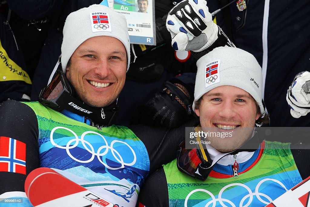 Bronze medalist <a gi-track='captionPersonalityLinkClicked' href=/galleries/search?phrase=Aksel+Lund+Svindal&family=editorial&specificpeople=227957 ng-click='$event.stopPropagation()'>Aksel Lund Svindal</a> and silver medalist <a gi-track='captionPersonalityLinkClicked' href=/galleries/search?phrase=Kjetil+Jansrud&family=editorial&specificpeople=816480 ng-click='$event.stopPropagation()'>Kjetil Jansrud</a> of Norway celebrate after their performance in the Alpine Skiing Men's Giant Slalom on day 12 of the Vancouver 2010 Winter Olympics at Whistler Creekside on February 23, 2010 in Whistler, Canada.