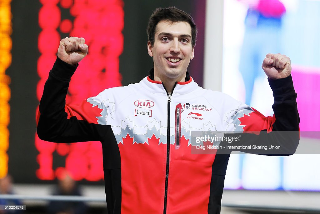 Bronze medalist Alex Boisvert-Lacroix of Canada attends a victory ceremony for the men's 500 meter race during day 4 of the ISU World Single Distances Speed Skating Championships held at Speed Skating Centre Kolomna Ice Arena on February 14, 2016 in Kolomna, Russia.