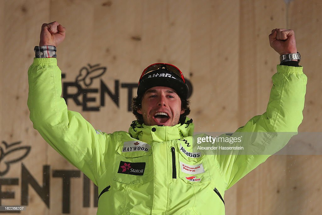 Bronze medalist Alex Harvey of Canada celebrates at the medal ceremony for the Men's Cross Country 1.5km Classic Sprint Final at the FIS Nordic World Ski Championships on February 21, 2013 in Val di Fiemme, Italy.