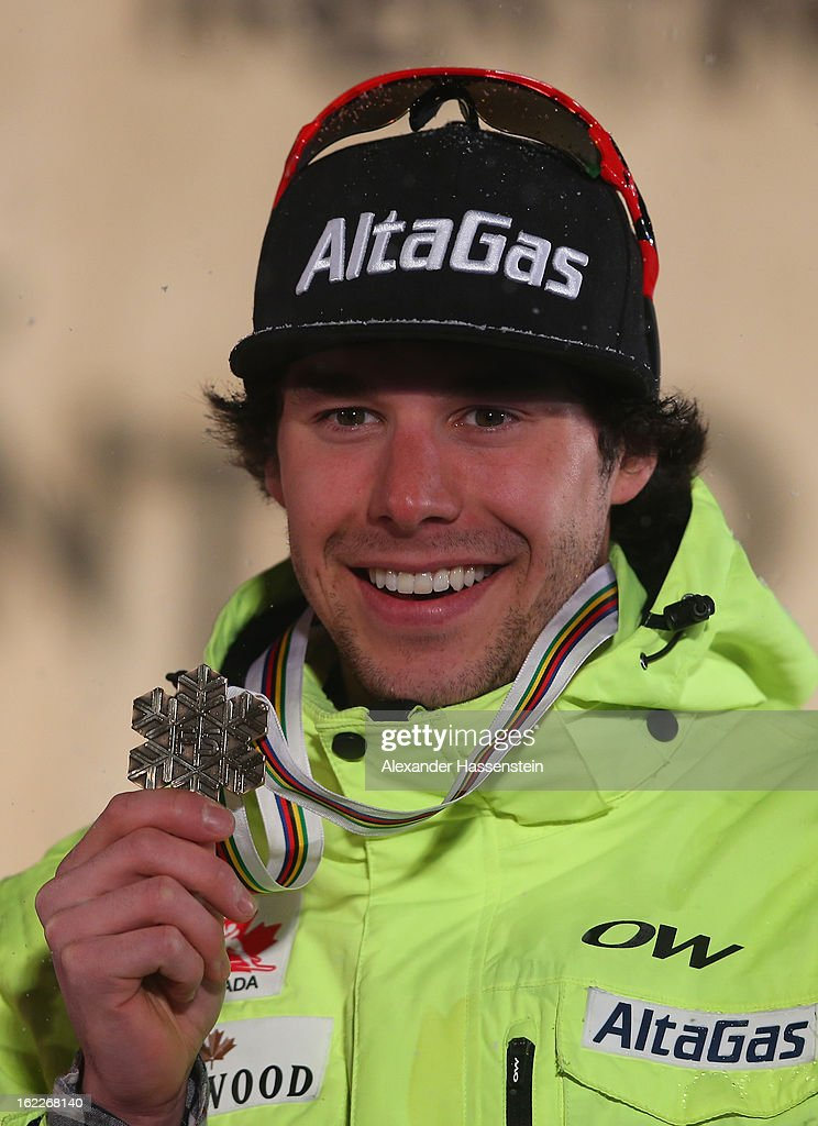 Bronze medalist Alex Harvey of Canada poses at the medal ceremony for the Men's Cross Country 1.5km Classic Sprint Final at the FIS Nordic World Ski Championships on February 21, 2013 in Val di Fiemme, Italy.