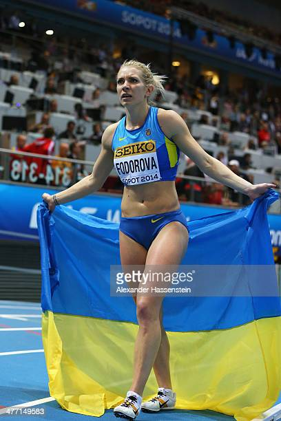 Bronze medalist Alina Fodorova of the Ukraine celebrates after the Women's Pentathlon during day one of the IAAF World Indoor Championships at Ergo...