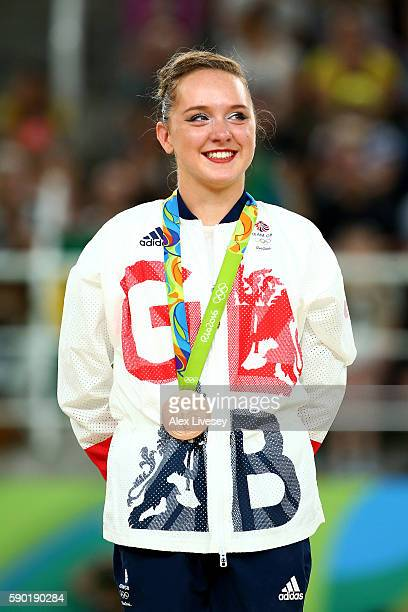 Bronze medalist Amy Tinkler of Great Britain celebrates on the podium at the medal ceremony for the Women's Floor on Day 11 of the Rio 2016 Olympic...
