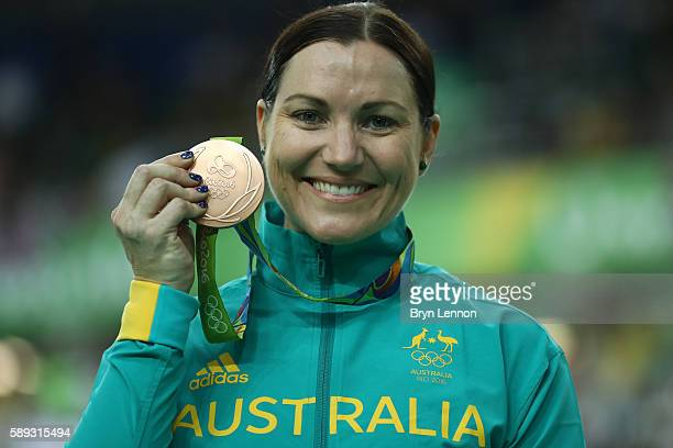 Bronze medalist Anna Meares of Australia celebrates on the podium at the medal ceremony for the Women's Keirin on Day 8 of the Rio 2016 Olympic Games...