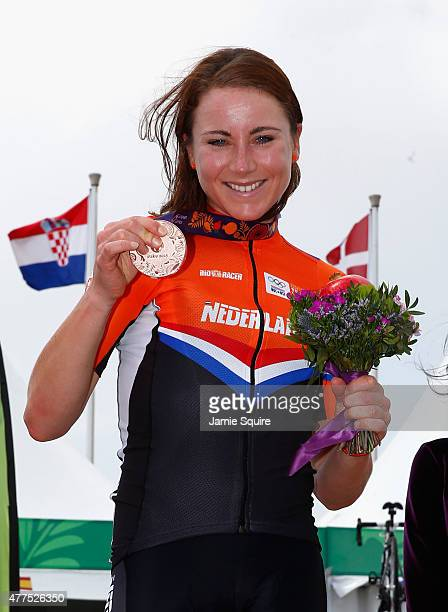 Bronze medalist Annemiek van Vleuten of Netherlands poses with the medal won in the Women's Road cycling Individual Time Trial during day six of the...