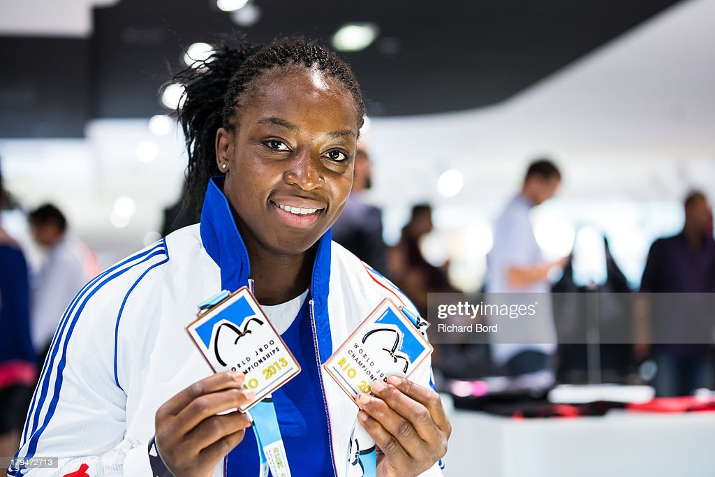 Bronze medalist at the World Judo Championship in Rio de Janeiro, <a gi-track='captionPersonalityLinkClicked' href=/galleries/search?phrase=Gevrise+Emane&family=editorial&specificpeople=607967 ng-click='$event.stopPropagation()'>Gevrise Emane</a> of France poses at Adidas Performance Store Champs-Elysees on September 4, 2013 in Paris, France.