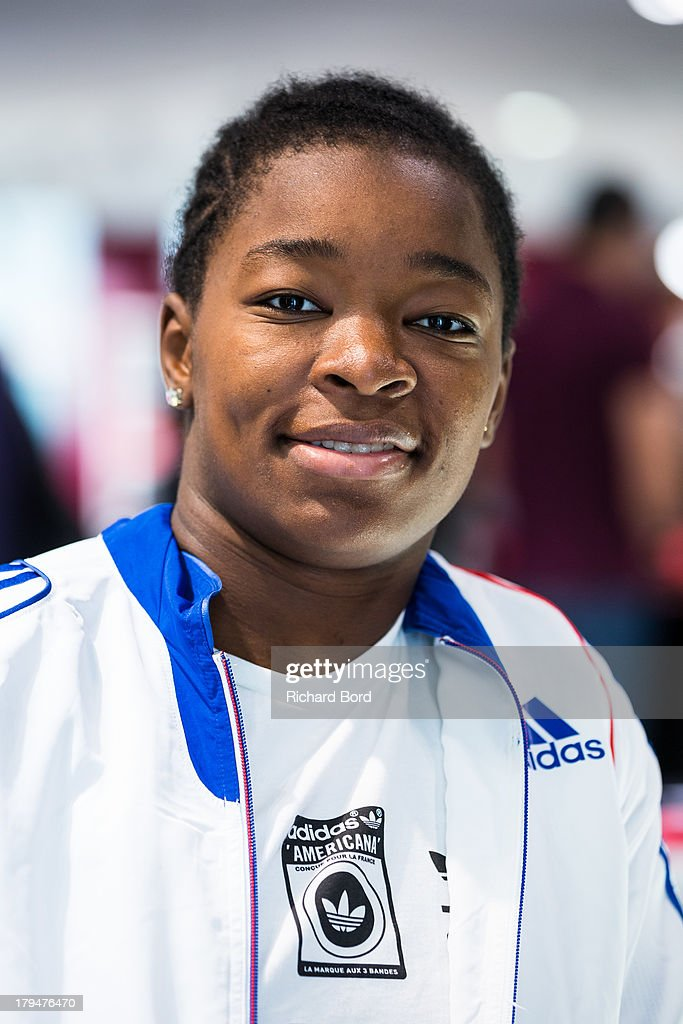 Bronze medalist at the World Judo Championship in Rio de Janeiro, Audrey Tcheumeo of France poses at Adidas Performance Store Champs-Elysees on September 4, 2013 in Paris, France.