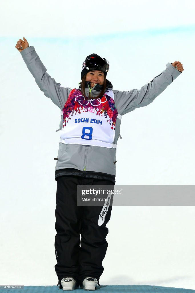 Bronze medalist <a gi-track='captionPersonalityLinkClicked' href=/galleries/search?phrase=Ayana+Onozuka&family=editorial&specificpeople=9028067 ng-click='$event.stopPropagation()'>Ayana Onozuka</a> of Japan celebrates during the flower ceremony in the Freestyle Skiing Ladies' Ski Halfpipe Finals on day thirteen of the 2014 Winter Olympics at Rosa Khutor Extreme Park on February 20, 2014 in Sochi, Russia.