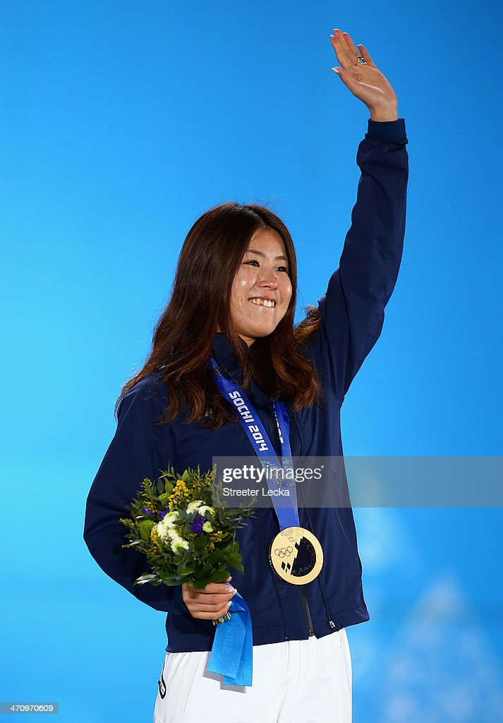 Bronze medalist <a gi-track='captionPersonalityLinkClicked' href=/galleries/search?phrase=Ayana+Onozuka&family=editorial&specificpeople=9028067 ng-click='$event.stopPropagation()'>Ayana Onozuka</a> of Japan celebrates during the medal ceremony for the Women's Ski Halfpipe on day fourteen of the Sochi 2014 Winter Olympics at Medals Plaza on February 21, 2014 in Sochi, Russia.