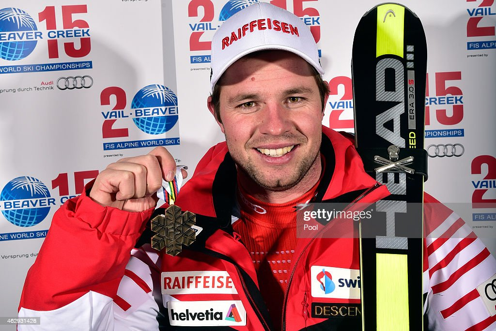 Bronze medalist <a gi-track='captionPersonalityLinkClicked' href=/galleries/search?phrase=Beat+Feuz&family=editorial&specificpeople=4193254 ng-click='$event.stopPropagation()'>Beat Feuz</a> of Switzerland poses following the finish of the Men's Downhill in Red Tail Stadium on Day 6 of the 2015 FIS Alpine World Ski Championships on February 7, 2015 in Beaver Creek, Colorado.