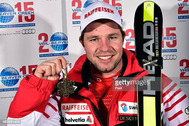 Bronze medalist Beat Feuz of Switzerland poses following the finish of the Men's Downhill in Red Tail Stadium on Day 6 of the 2015 FIS Alpine World...