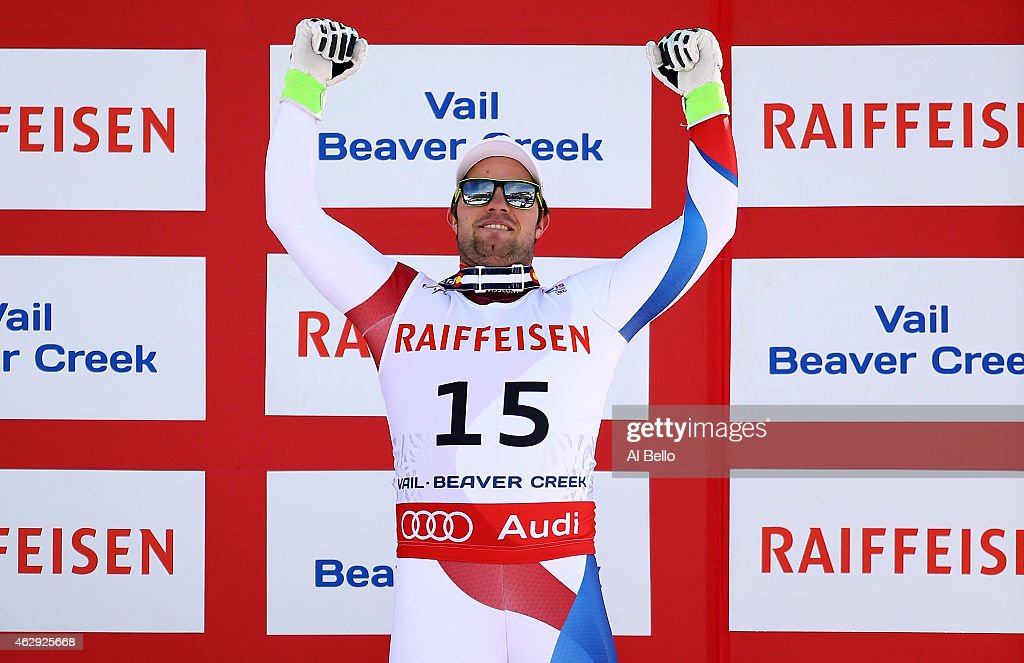 Bronze medalist <a gi-track='captionPersonalityLinkClicked' href=/galleries/search?phrase=Beat+Feuz&family=editorial&specificpeople=4193254 ng-click='$event.stopPropagation()'>Beat Feuz</a> of Switzerland stands on the podium after the finish of the Men's Downhill in Red Tail Stadium on Day 6 of the 2015 FIS Alpine World Ski Championships on February 7, 2015 in Beaver Creek, Colorado.