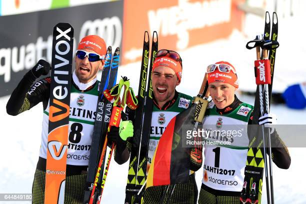 Bronze medalist Bjoern Kircheisen of Germany gold medalist Johannes Rydzek of Germany and silver medalist Eric Frenzel of Germany celebrate following...