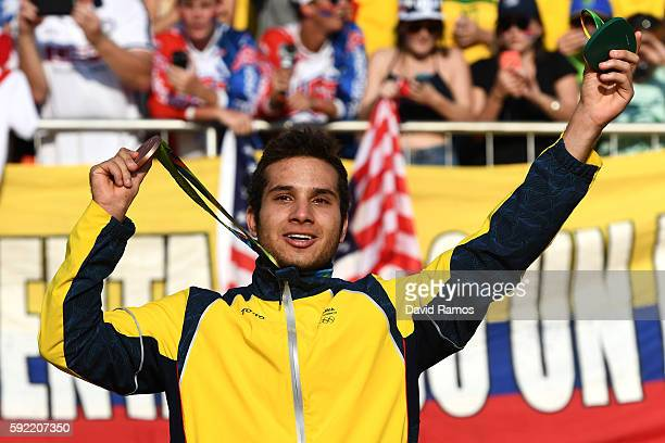 Bronze medalist Carlos Alberto Yepes Ramirez of Colombia on the podium after the Men's BMX Final on day 14 of the Rio 2016 Olympic Games at the...