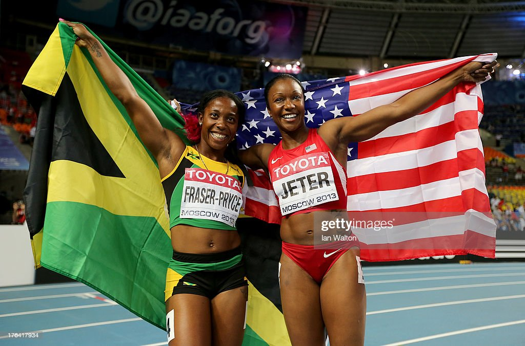 Bronze medalist <a gi-track='captionPersonalityLinkClicked' href=/galleries/search?phrase=Carmelita+Jeter&family=editorial&specificpeople=4472760 ng-click='$event.stopPropagation()'>Carmelita Jeter</a> of the United States and gold medalist <a gi-track='captionPersonalityLinkClicked' href=/galleries/search?phrase=Shelly-Ann+Fraser&family=editorial&specificpeople=5493833 ng-click='$event.stopPropagation()'>Shelly-Ann Fraser</a>-Pryce of Jamaica pose after the Women's 100 metres final during Day Three of the 14th IAAF World Athletics Championships Moscow 2013 at Luzhniki Stadium on August 12, 2013 in Moscow, Russia.