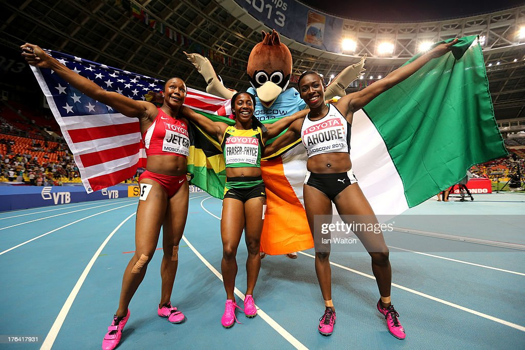 Bronze medalist <a gi-track='captionPersonalityLinkClicked' href=/galleries/search?phrase=Carmelita+Jeter&family=editorial&specificpeople=4472760 ng-click='$event.stopPropagation()'>Carmelita Jeter</a> of the United States, gold medalist <a gi-track='captionPersonalityLinkClicked' href=/galleries/search?phrase=Shelly-Ann+Fraser&family=editorial&specificpeople=5493833 ng-click='$event.stopPropagation()'>Shelly-Ann Fraser</a>-Pryce of Jamaica and silver medalist <a gi-track='captionPersonalityLinkClicked' href=/galleries/search?phrase=Murielle+Ahoure&family=editorial&specificpeople=7854673 ng-click='$event.stopPropagation()'>Murielle Ahoure</a> of Ivory Coast pose after the Women's 100 metres final during Day Three of the 14th IAAF World Athletics Championships Moscow 2013 at Luzhniki Stadium on August 12, 2013 in Moscow, Russia.