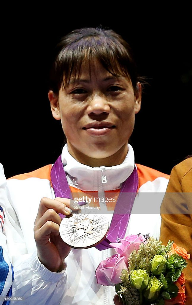Bronze medalist Chungneijang Mery Kom Hmangte of India poses during the medal ceremony for the Women's Fly (51kg) Boxing final bout on Day 13 of the London 2012 Olympic Games at ExCeL on August 9, 2012 in London, England.