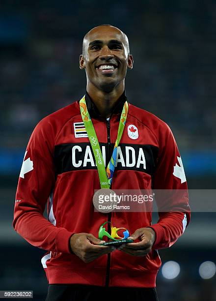 Bronze medalist Damian Warner of Canada poses on the podium during the medal ceremony for the Men's Decathlon on Day 14 of the Rio 2016 Olympic Games...