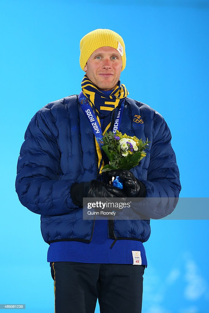 Bronze medalist Daniel Richardsson of Sweden celebrates during the medal ceremony for the Cross Country Men's 15km Classic event on day 7 of the Sochi 2014 Winter Olympics at Medals Plaza on February 14, 2014 in Sochi, Russia.