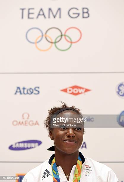Bronze medalist Dina AsherSmith speaks to journalists during the Team GB press conference at the Sofitel Heathrow Airport on August 23 2016 in London...