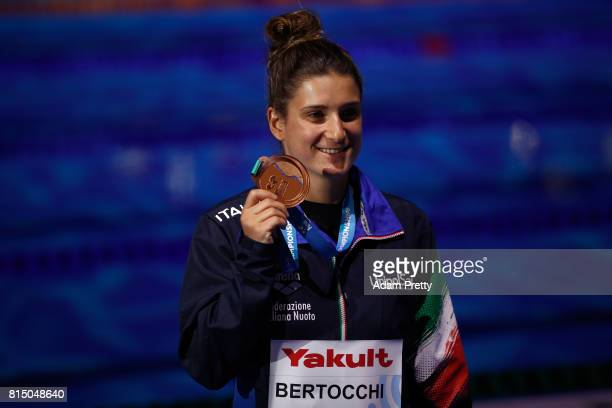 Bronze medalist Elena Bertocchi of Italy poses with her medal following the Womens Diving 1m Springboard Final on day two of the Budapest 2017 FINA...
