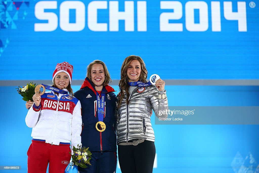 bronze medalist Elena Nikitina of Russia gold medalist Lizzy Yarnold of Great Britain and Silver medalist Noelle PikusPace of the United States...