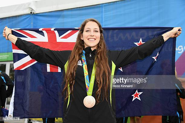 JANEIRO BRAZIL AUGUST Bronze medalist Eliza McCartney of New Zealand poses for a photo during a press conference for New Zealand medal winners on Day...